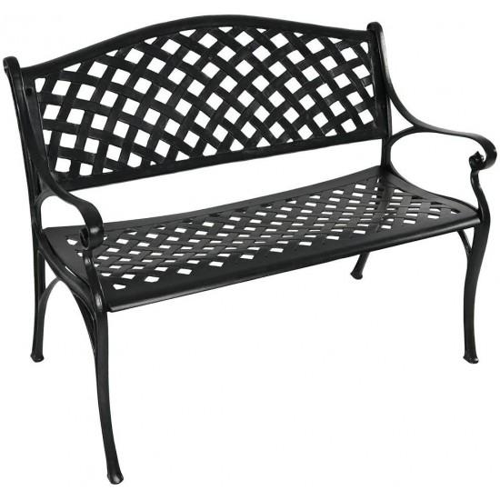 Sunnydaze Outdoor Patio Bench Black, Black Cast Aluminium Garden Bench