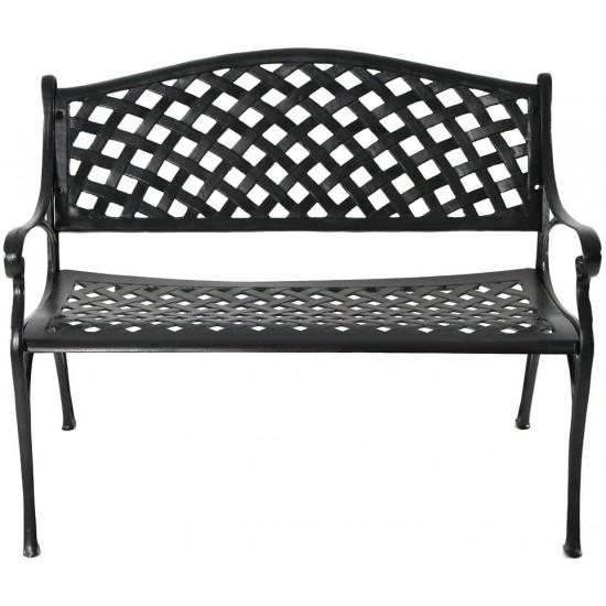 Sunnydaze Outdoor Patio Bench Black, Black Cast Aluminum Garden Bench