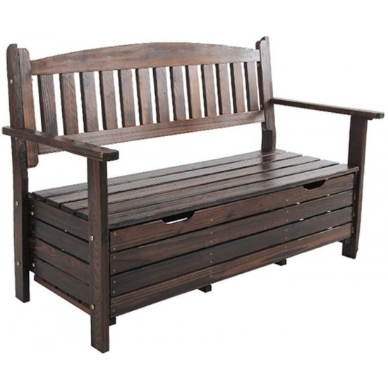 Jf Bench Outdoor Storage Box, Wood Bench With Storage And Cushion